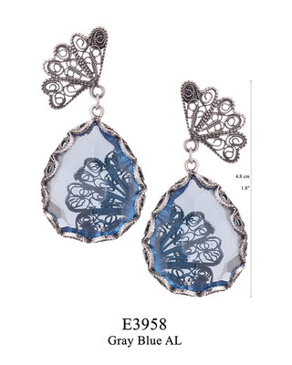 E3958 OXI 95, GP 105: JAPANESE FAN DECOR COLLECTION. OXI POST EARRING FAN FILIGREE WITH GREY BLUE AL DROP.