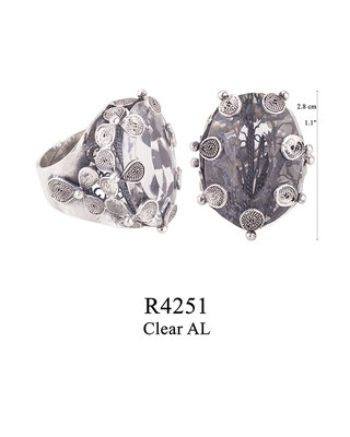 R4251 OXI 110, GP 130: BOTANICAL GARDEN COLLECTION, FILIGREE OXI RING WITH CLEAR AL IN CENTER.