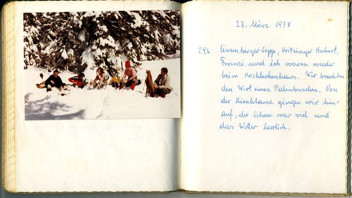 Auszug aus dem Tourenbuch von Franz Scherndl