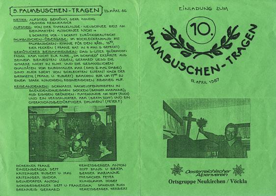 10 Jahre Palmbuschentragen 1987
