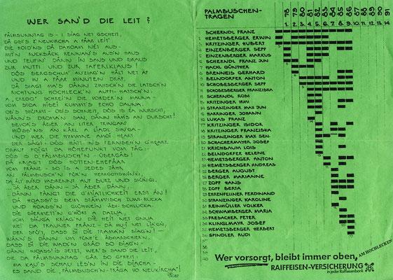 Das Palmbuschengedicht von Kritzinger Hubert und die Teilnehmer