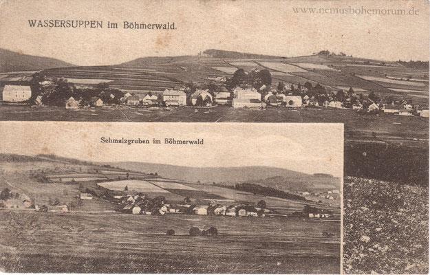 Eine der seltenen Aufnahmen von Schmalzgruben (Nemaničky). Zwischen dem Dörflein und Wassersuppen verlief bis 1766 die bayerisch-böhmische Grenze!