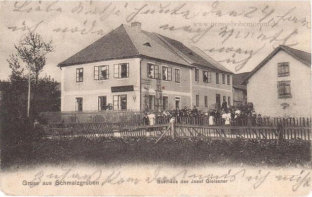 Das Gasthaus Gleißner in Schmalzgruben (Nemaničky) war sehr bekannt - heute nur noch eine Wiesenfläche.