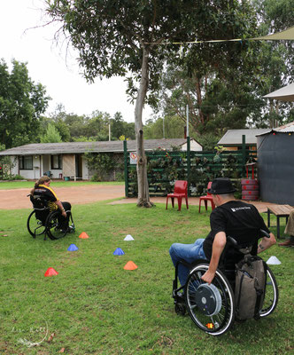 Navigating a obstacle course in a wheelchair in Nannup 2019
