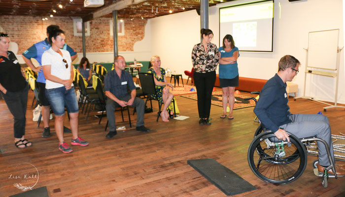 Navigating a obstacle course in a wheelchair in Bunbury 2019