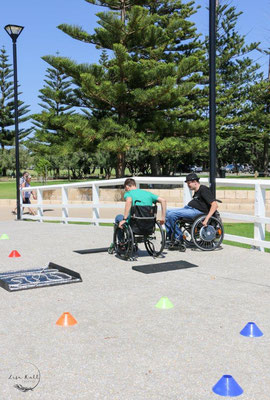 Navigating a obstacle course in a wheelchair in Busselton 2019