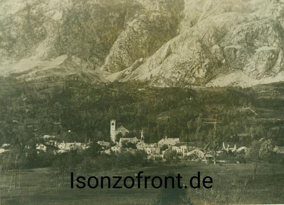 Die Ruinen von Flitsch/Bovec. Aufgenommen am 26.10.1917. Sammlung Isonzofront.de