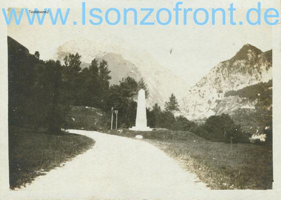 Der Obelisk fotografiert im Jahr 1922. Sammlung www.isonzofront.de