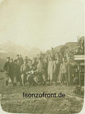 Pionierbataillon 35 Fernsprechzug 1535 auf der Fahrt an die Isonzofront. Aufnahme auf der Strecke am 12.10.1917. Sammlung Isonzofront.de