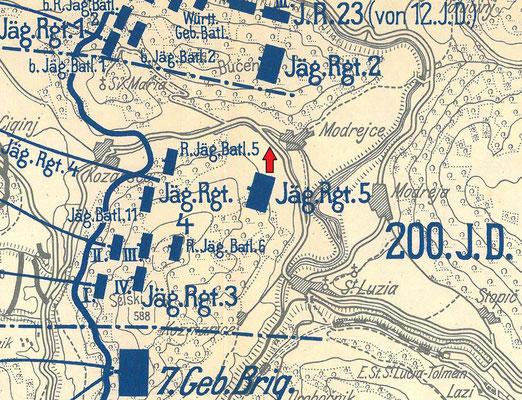 Der rote Pfeil markiert den Standort des Fotografen.