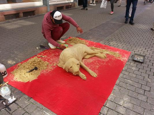Kunstwerk aus Sand - Altstadt Heidelberg