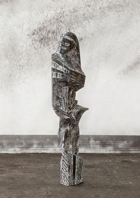 Présence de musique, 2014, whitewashed oak, 180 x 44 x 48 cm <br> © Frédéric Ducout