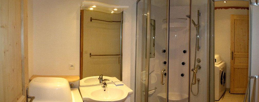 La salle d'eau (douche, lavabo, lave-linge).