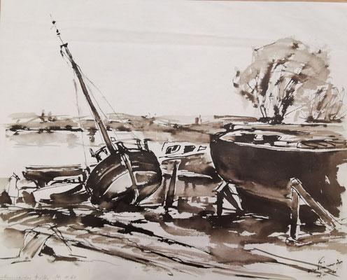 """""""Finkenwerder Werft, 14.11.1961"""", 38 x 47 cm, Tusche, Litographie auf Büttenpapier, nummeriert, limitiert und handsigniert, 250,-€"""