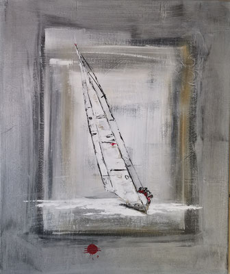 "A. Barby ""Segler 1"", 50x60cm, Acrylspachteltechnik, 140€"
