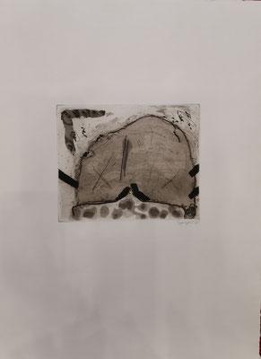 """Spiegel, """"Tusche"""", 35 x 53cm, Lithographie auf Büttenpapier, nummeriert, limitiert und handsigniert, 500,-€"""
