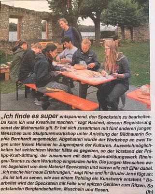 4. Oktober 2019, Rheingau Echo - Jugendpark der Kulturen: Skulpturenworkshop