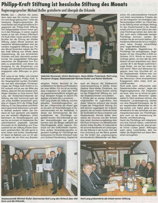 09.02.2017 Wiesbadener Kurier Auszeichnung zur Hessischen Stiftung des Monats November 2016
