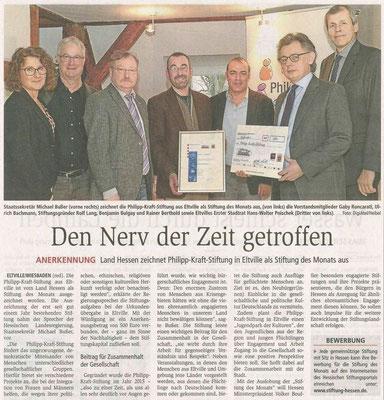 03.02.2017 Wiesbadener Kurier Auszeichnung zur Hessischen Stiftung des Monats November 2016