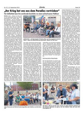 """12. September 2019, Rheingau Echo - Lesung: """"Warum wir hier sind"""""""