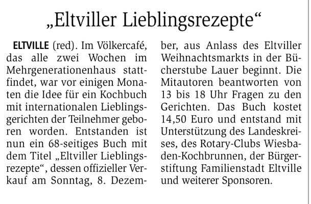 4. Dezember 2019, Wiesbadener Kurier - Völkercafé: Kochbuch Eltviller Lieblingsgerichte