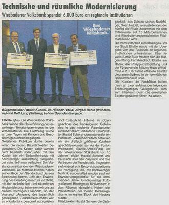 15. November 2019, Rheingau Echo - Spendenübergabe Wiesbadener Volksbank