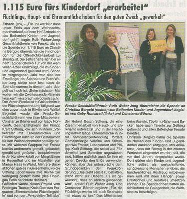 28. Februar 2019, Rheingau Echo - Kooperation mit Fresko e.V.: Spendenübergabe Bethanien Kinderdorf