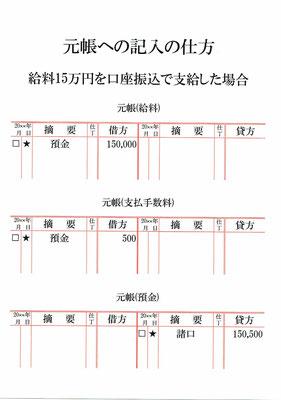 元帳(給料・支払手数料・預金)
