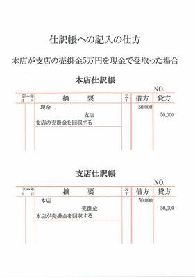 仕訳帳(支店・本店・現金・売掛金)