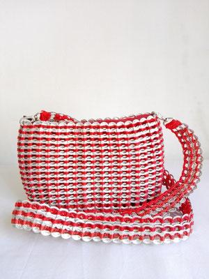 カンボジア雑貨 缶トップバッグ(M) 赤