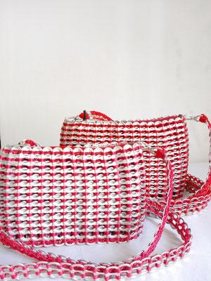 カンボジア雑貨 缶トップバッグ(M)、(S) 赤