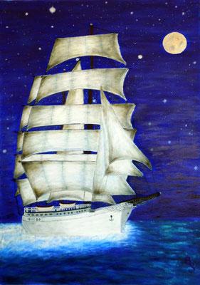 Segeln bei Nacht, 50*70, 2012