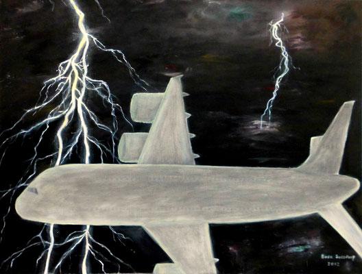 Flugzeug im Blitz, 75*60, 2012