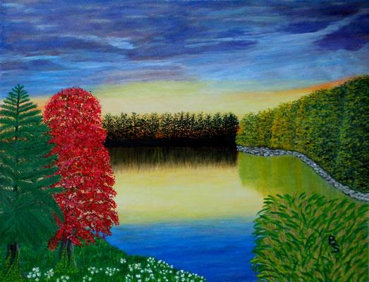 Sonnenuntergang am See, 75*55, 2011