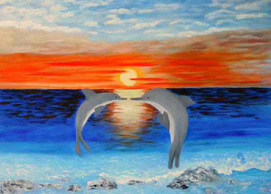 Delphine beim Spiel, 70*50, 2011