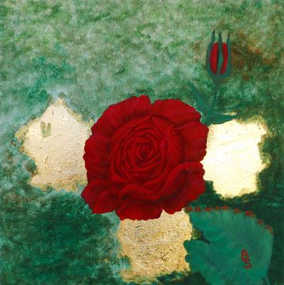 Rote Rose mit Blattgold, 40*40, 2016