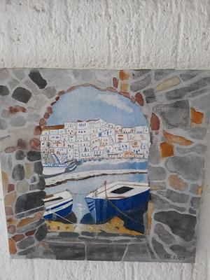 Blick durch eine Stadtmauer