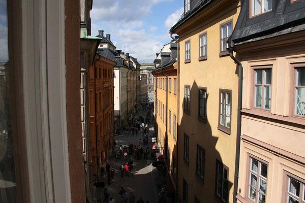 Lord Nelson Hotel, Ausblick auf die Västerlanggatan (eine der Hauptachsen der Altstadt)