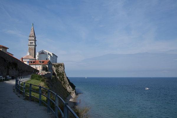 Piran, Kirche des Hl. Georg/Sv. Jurija. Der Hl. Georg ist der Schutzheilige Pirans.