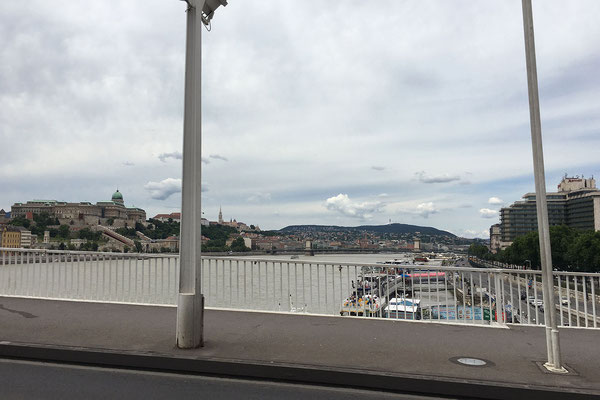 19.6. Budapest - Blick auf die Kettenbrücke und den Burghügel.