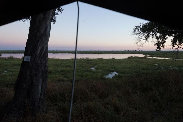 05.05. Chobe NP - Linyanti Campsite; Traumhafter Blick aus dem Dachzelt um 5:36 Uhr.