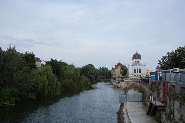 11.6. Oradea: Blick auf den Crișul Repede und die Sinagoga Neologa Zion.