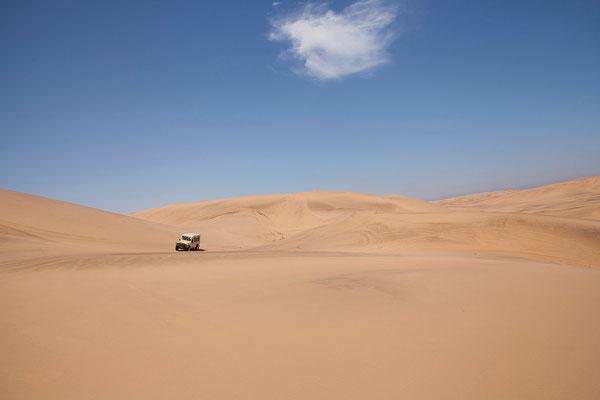 21.2. Die Land Rover brausen gekonnt über die imposanten Dünen - toll.