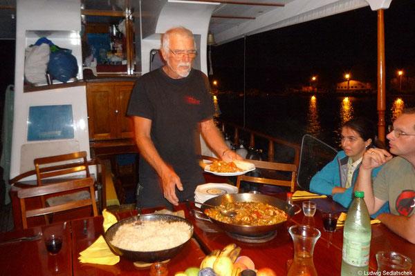 10.09. Günther mit dem ersten Abendessen