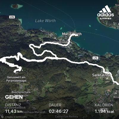 Insgesamt etwa 12 km sind es von Reifnitz zum Pyramidenkogel nach Maria Wörth.