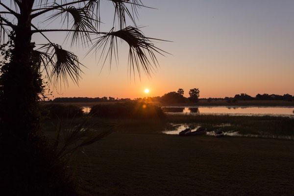 10.05. Wir genießen einen tollen Sonnenuntergang in der Thamalakane River Lodge.