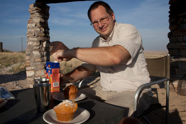19.2. Frühstück in Camp Gecko