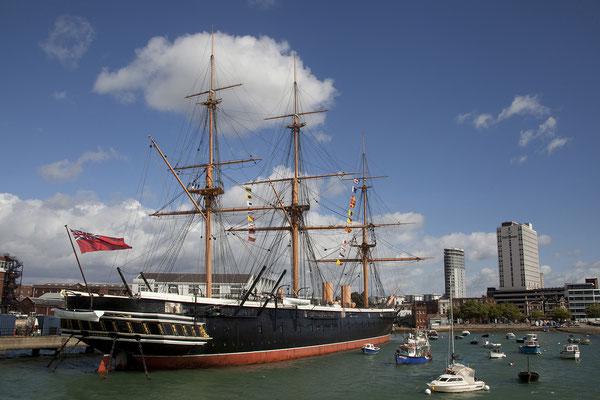 16.09. Die HMS Warrior wurde 1883 vom Seedienst abgezogen. DIe Restaurierung begann 1979 und wurde 1984 abgeschlossen.