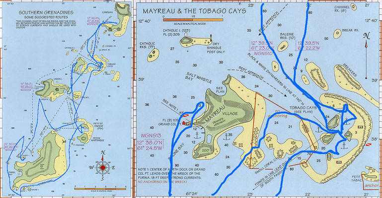Unsere Route in den Grenadinen (8.-15.5.)
