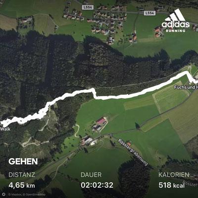 Die gesamte Strecke ist 4,65 km lang. 2,7 km davon entfallen auf den Wipfelwanderweg.